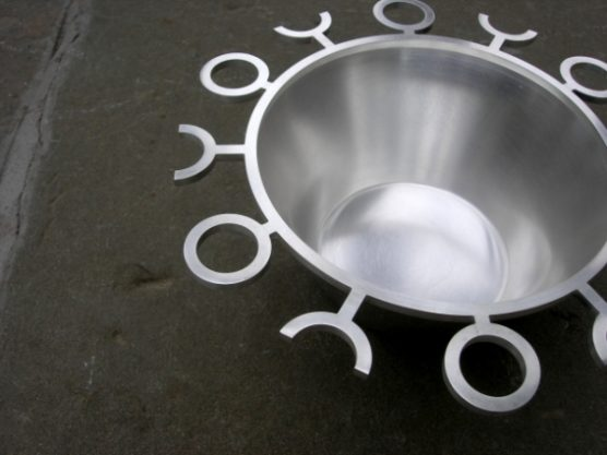 Silver Bowl Silver bowl spun with forged decorative border.