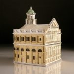 Sheldonian Theatre box Sheldonian Theatre box   Made in scored & folded silver sheet with yellow gold plate, 71 long x 60 wide x 85mm high. Based on the iconic Oxford building currently on show in 'Architecture in Miniature' at the Ashmolean Museum, Oxford till May 15th.