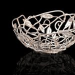 Leaf Bowl A fruit or bread bowl of intertwined silver branches and leaves